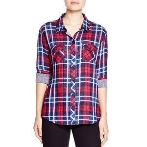 Beachlunchlounge Ruby Plaid Button Down Large d18